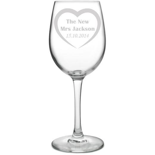 Large Personalised Wine Glass - Bride Love Heart Design