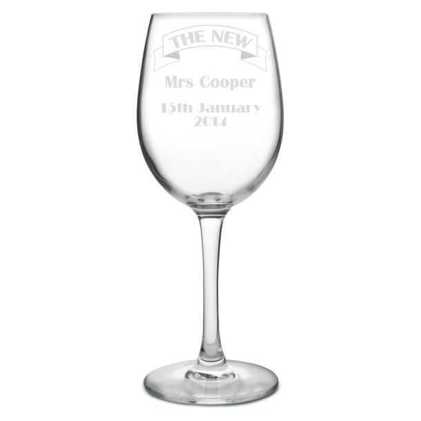 "Large Personalised Wine Glass - Bride Ribbon Design 20.5cm (8"")"
