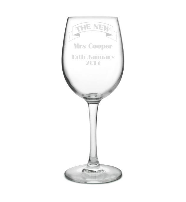 "Large Personalised Wine Glass - Bride Ribbon Design 20.5cm (8"")"