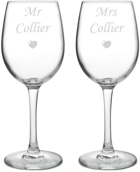 "Large Personalised Bride & Groom Wine Glass Set - Mr & Mrs 20.5cm (8"")"