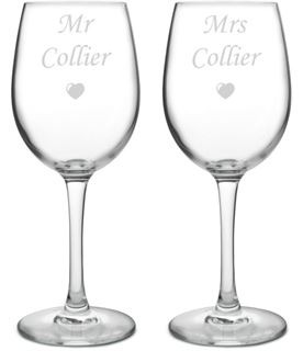 "Large Personalised Bride & Groom Wine Glass Set - Mr & Mrs 20.5cm (8"")"