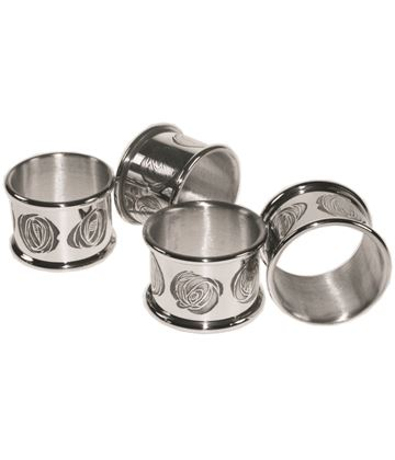 "Set of Four Pewter CRM Napkin Rings 5cm (2"") Each"