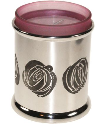 "Pewter CRM Candle Votive and Candle 9cm (3.5"")"