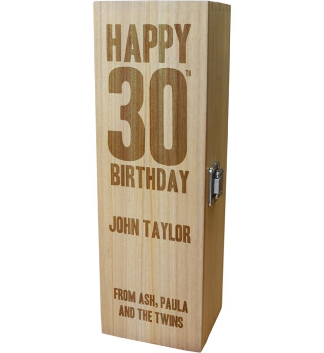 "Personalised Wooden Wine Box with Hinged Lid - Happy 30th Birthday 35cm (13.75"")"