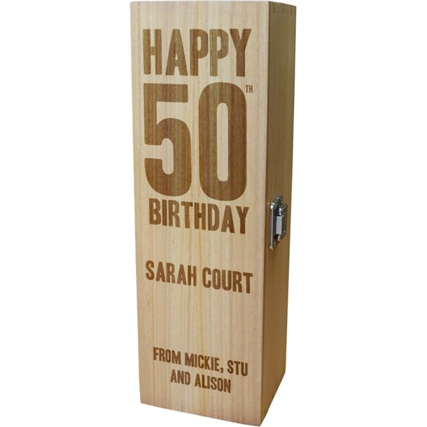"""Personalised Wooden Wine Box with Hinged Lid - Happy 50th Birthday 35cm (13.75"""")"""