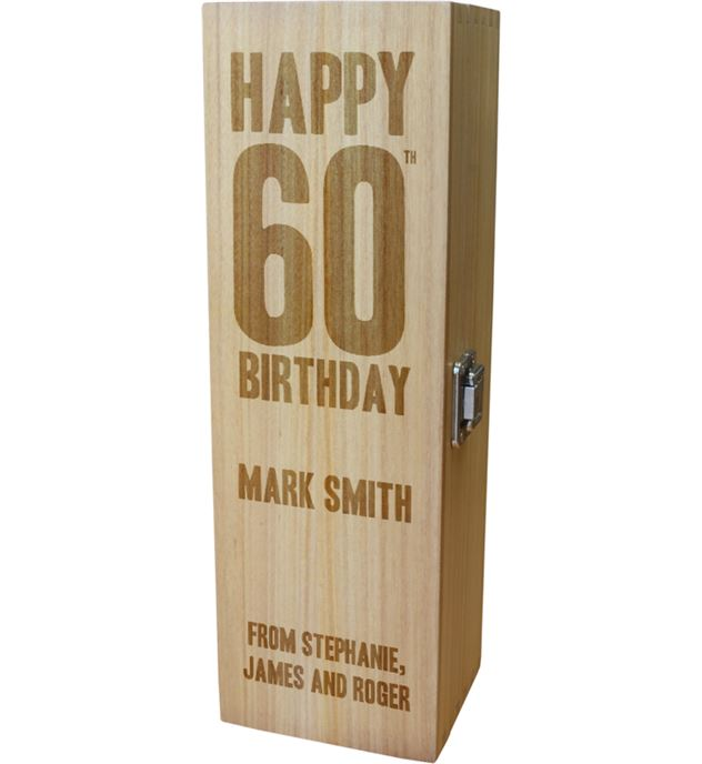 "Personalised Wooden Wine Box with Hinged Lid - Happy 60th Birthday 35cm (13.75"")"