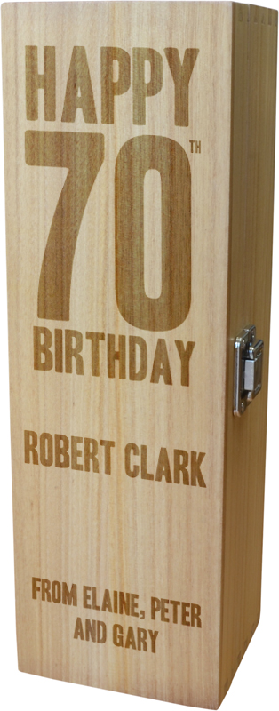 "Personalised Wooden Wine Box with Hinged Lid - Happy 70th Birthday 35cm (13.75"")"