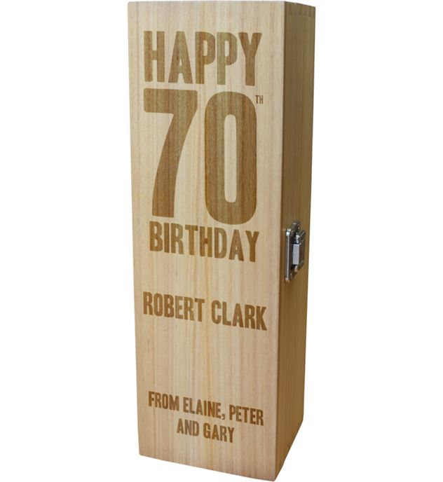 """Personalised Wooden Wine Box with Hinged Lid - Happy 70th Birthday 35cm (13.75"""")"""