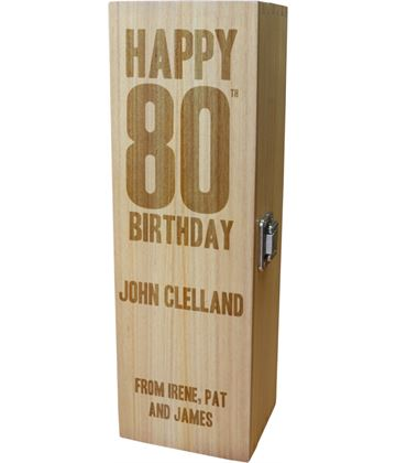 "Personalised Wooden Wine Box with Hinged Lid - Happy 80th Birthday 35cm (13.75"")"