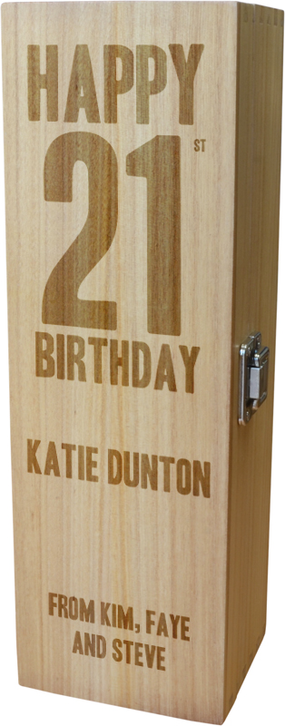 "Personalised Wooden Wine Box with Hinged Lid - Happy 21st Birthday 35cm (13.75"")"