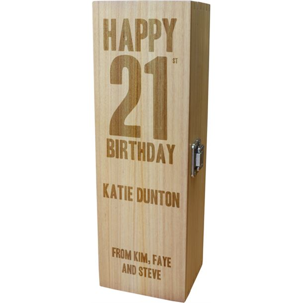 """Personalised Wooden Wine Box with Hinged Lid - Happy 21st Birthday 35cm (13.75"""")"""