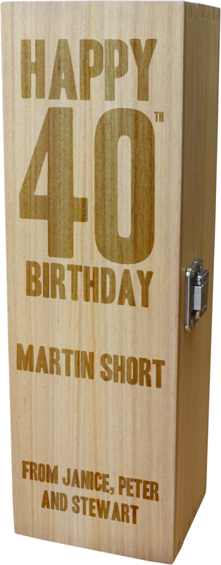 "Personalised Wooden Wine Box with Hinged Lid - Happy 40th Birthday 35cm (13.75"")"