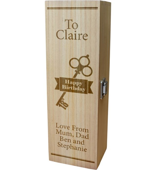 "Personalised Wooden Wine Box with Hinged Lid - Happy Birthday 18th Key 35cm (13.75"")"