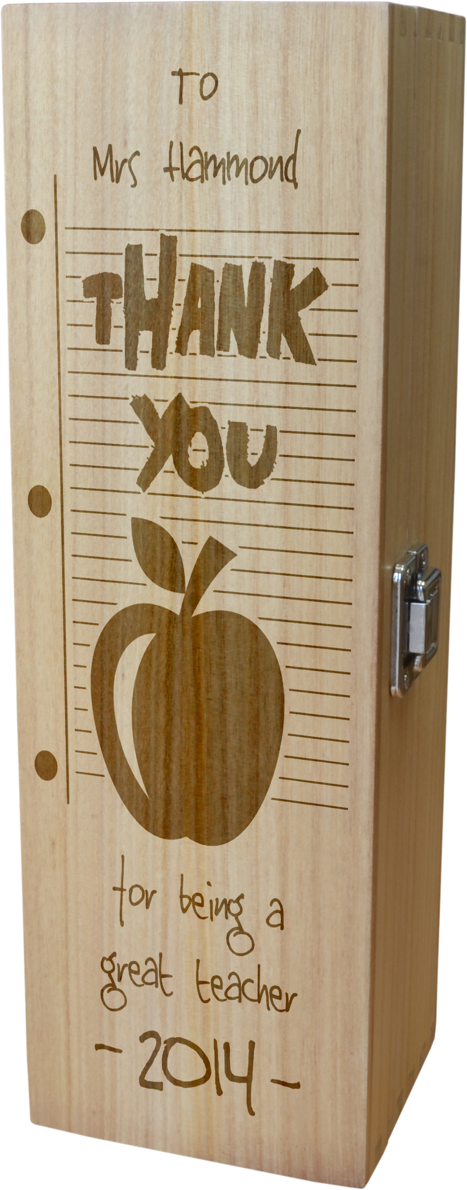"Personalised Wooden Wine Box with Hinged Lid - Thank You Teacher 35cm (13.75"")"