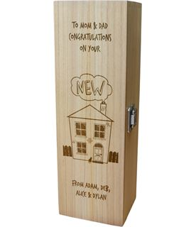 """Personalised Wooden Wine Box with Hinged Lid - New Home 35cm (13.75"""")"""