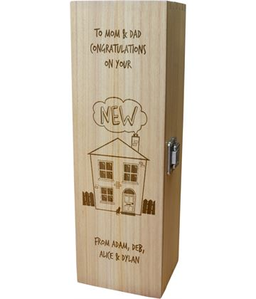 "Personalised Wooden Wine Box with Hinged Lid - New Home 35cm (13.75"")"