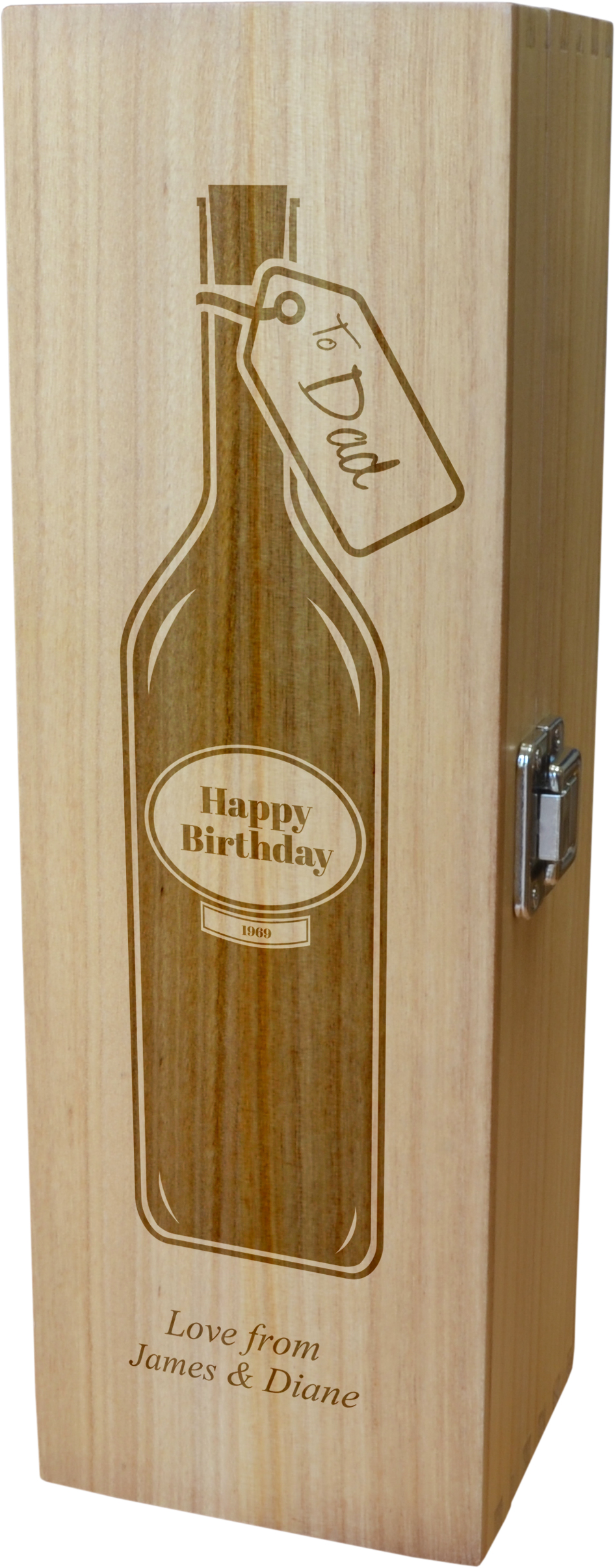 "Personalised Wooden Wine Box - Happy Birthday Dad Full Wine Bottle Design 35cm (13.75"")"