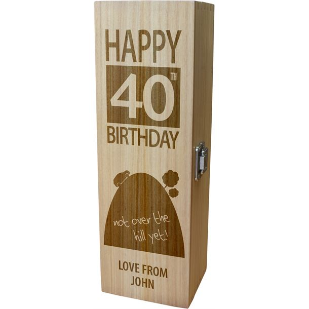 """Personalised Wooden Wine Box - Happy 40th Birthday Not Over The Hill 35cm (13.75"""")"""