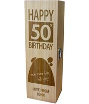 """Personalised Wooden Wine Box - Happy 50th Birthday Not Over The Hill 35cm (13.75"""")"""