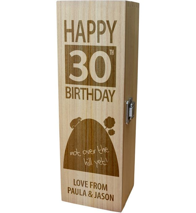 """Personalised Wooden Wine Box - Happy 30th Birthday Not Over The Hill 35cm (13.75"""")"""