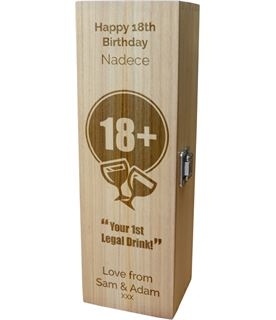"""Personalised Wooden Wine Box with Hinged Lid - Happy 18th Birthday 35cm (13.75"""")"""