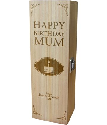 "Personalised Wooden Wine Box - Happy Birthday Mom Cake Design 35cm (13.75"")"