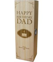 "Personalised Wooden Wine Box - Happy Birthday Dad Cake Design 35cm (13.75"")"