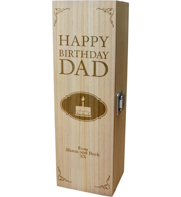 "Personalised Wooden Wine Box - Happy Birthday Dad Cake Design 35cm (13.75"")"