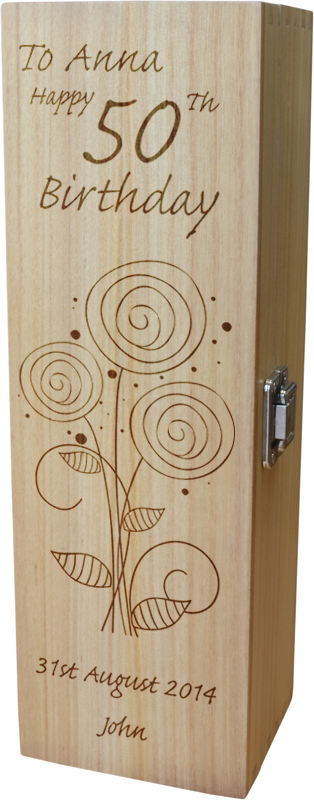 """Personalised Wooden Wine Box - Happy 50th Flower Design 35cm (13.75"""")"""