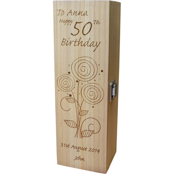 "Personalised Wooden Wine Box - Happy 50th Flower Design 35cm (13.75"")"