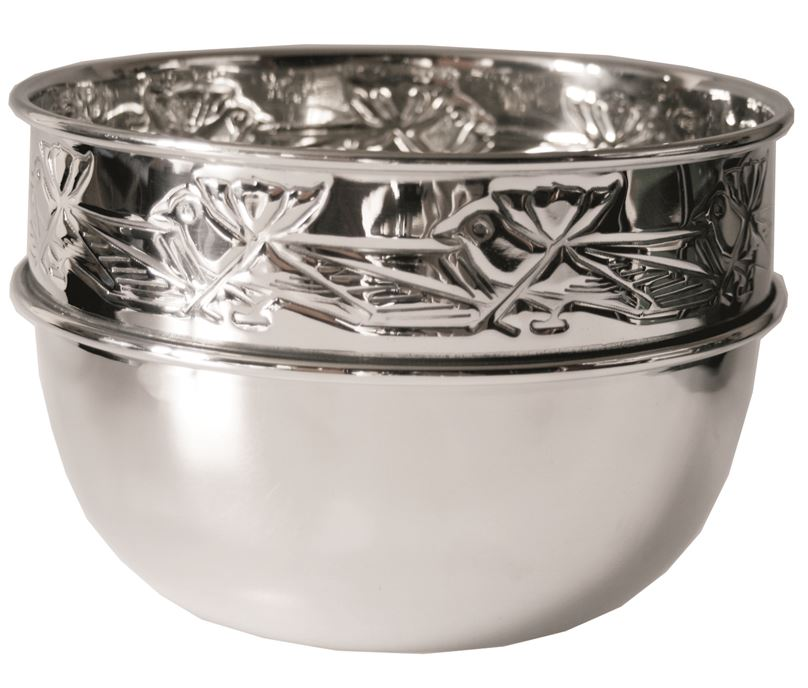 "Knox Pattern Deep Pewter Birdy Bowl 18.5cm (7.25"")"