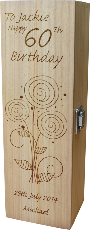 "Personalised Wooden Wine Box - Happy 60th Flower Design 35cm (13.75"")"