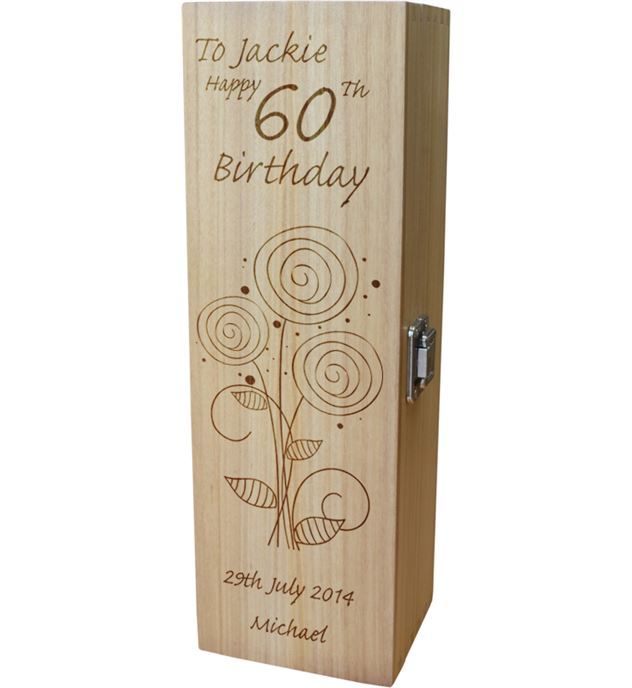 """Personalised Wooden Wine Box - Happy 60th Flower Design 35cm (13.75"""")"""