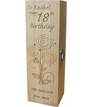 """Personalised Wooden Wine Box - Happy 18th Flower Design 35cm (13.75"""")"""
