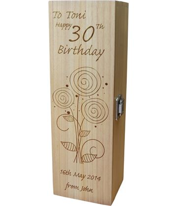 "Personalised Wooden Wine Box - Happy 30th Flower Design 35cm (13.75"")"