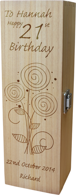 "Personalised Wooden Wine Box - Happy 21st Flower Design 35cm (13.75"")"