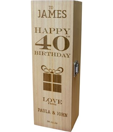 "Personalised Wooden Wine Box - Happy 40th Present Design 35cm (13.75"")"