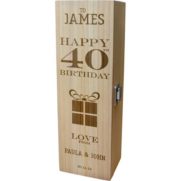 "Personalised Wooden Wine Box - Happy 40th Present Design 35cm (13.75"")"