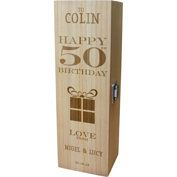 "Personalised Wooden Wine Box - Happy 50th Present Design 35cm (13.75"")"