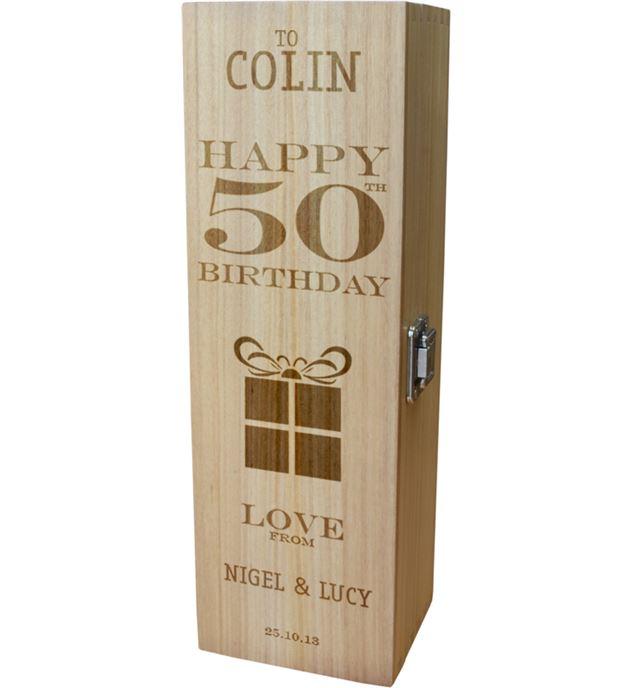 "Personalised Wooden Wine Box - Happy 50th Present Design 35cm (13.75"")"