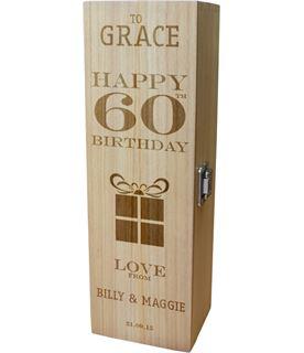 "Personalised Wooden Wine Box - Happy 60th Present Design 35cm (13.75"")"