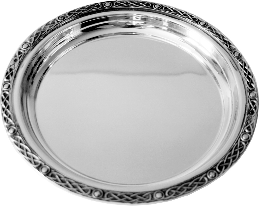 "Round Spun Pewter Salver with Celtic Band Edging 30cm (11.75"")"