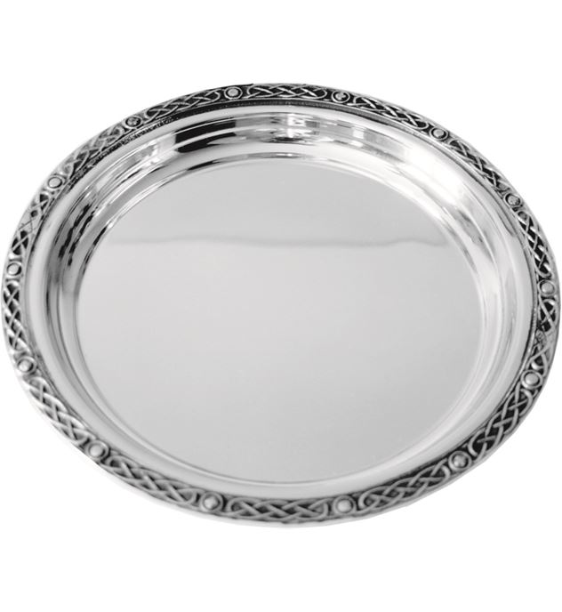 "Round Spun Pewter Salver with Celtic Band Edging 17cm (6.75"")"