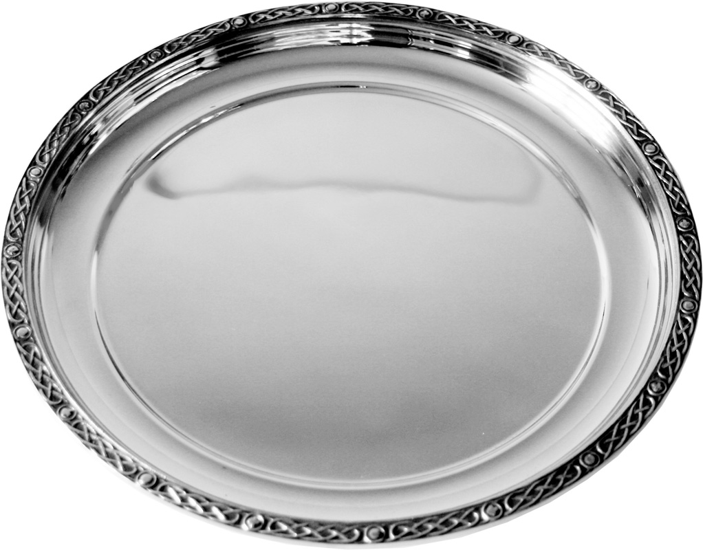 "Round Spun Pewter Salver with Celtic Band Edging 24cm (9.5"")"