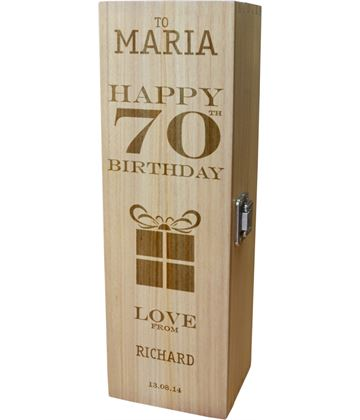 "Personalised Wooden Wine Box - Happy 70th Present Design 35cm (13.75"")"