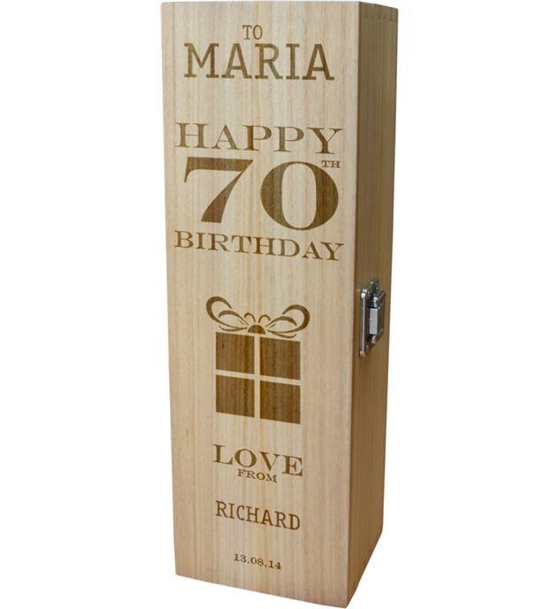 "Personalised Wooden Wine Box - Happy 70th Present Design 35cm (13.75"")"