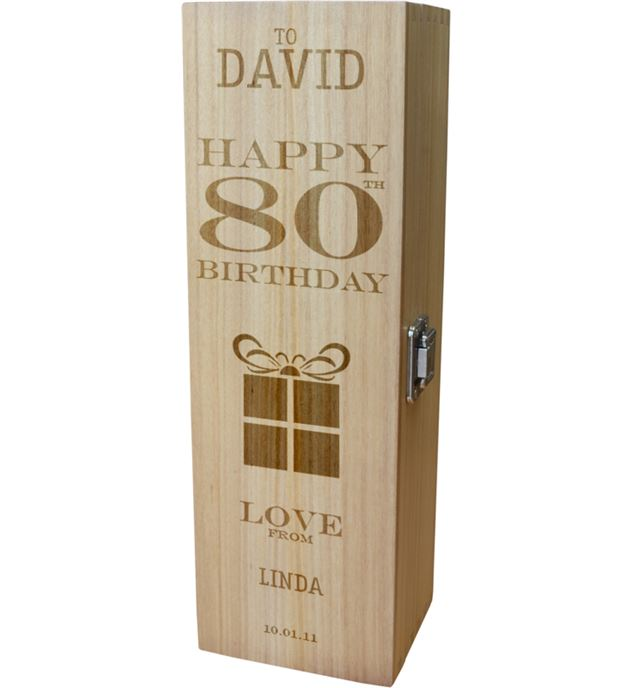 "Personalised Wooden Wine Box - Happy 80th Present Design 35cm (13.75"")"