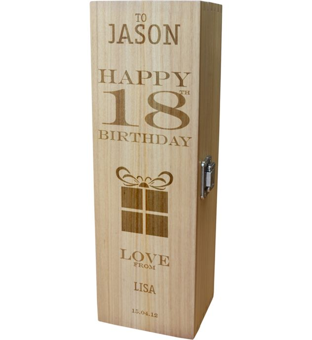 "Personalised Wooden Wine Box - Happy 18th Present Design 35cm (13.75"")"