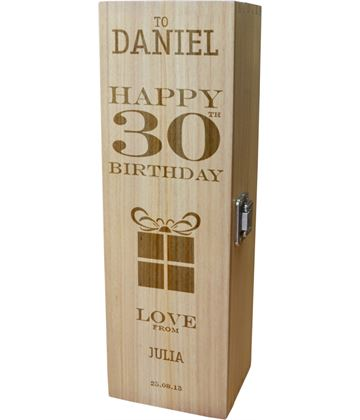"Personalised Wooden Wine Box - Happy 30th Present Design 35cm (13.75"")"