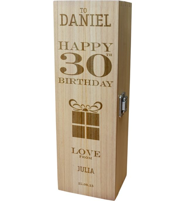 "Personalised Wooden Wine Box - Happy 30th Present Design 35cm (13.75"")"